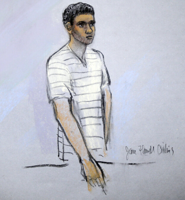 This courtroom sketch shows defendant