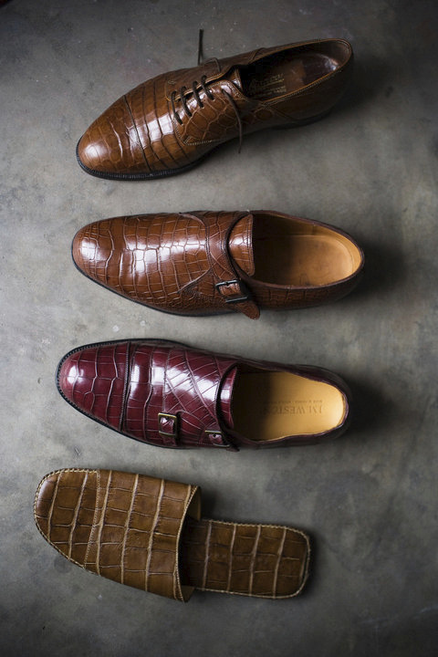 "Andre Nkolo is a sapeur who has lived in France for 15 years. Shoes are his passion, and he has more than 30 pairs. This is his crocodile collection: a pair of ""double boucle"" Weston, a pair of ""one boucle"" Weston, sandals by Dolce Gabbana and another very exclusive one."