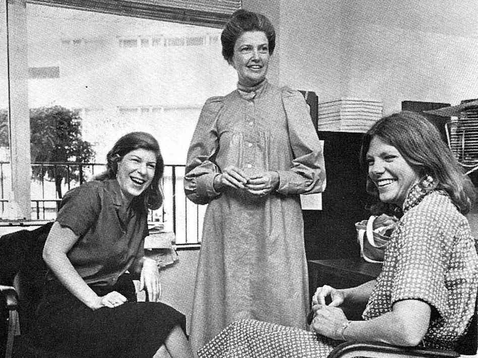 Nina Totenberg (from left), Linda Wertheimer and Cokie Roberts at NPR headquarters around 1979.