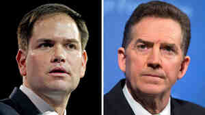 Republican Sen. Marco Rubio of Florida (left) makes remarks at CPAC 2013 on March 14. Jim DeMint (right), president of the Heritage Foundation, is shown during a news conference on immigration reform on May 6 in Washington, D.C.