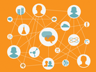 An orange graphic showing the connections between people and things.