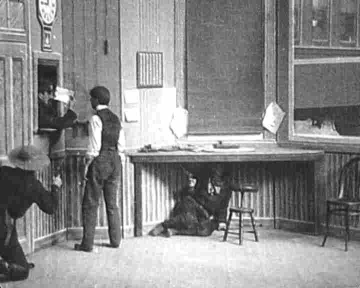 "Edwin S. Porter's The Great Train Robbery (1903) is a 12-minute film that employs one of the first known uses of the cinematic ""cut."""