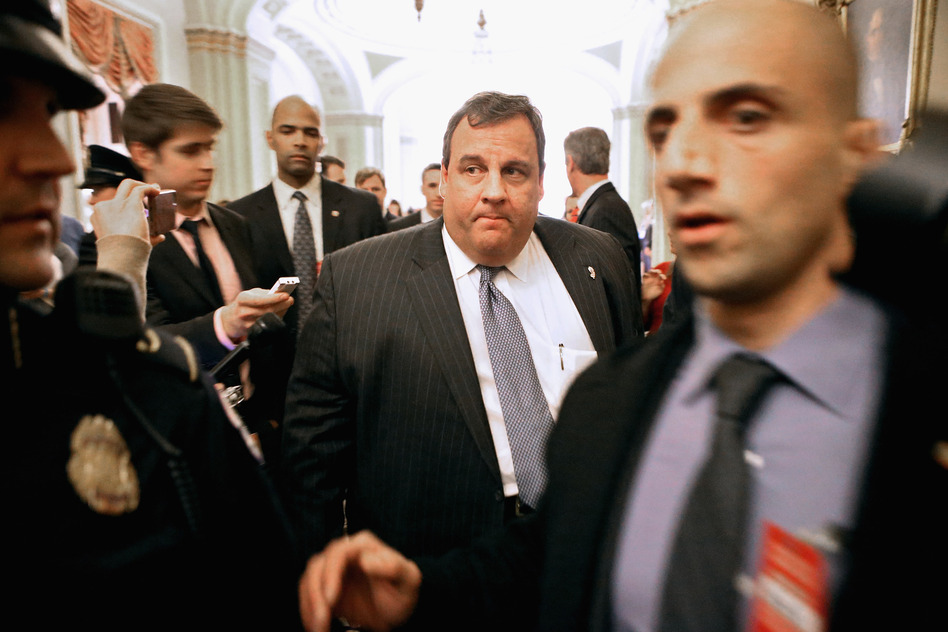 New Jersey Gov. Chris Christie is surrounded by security and journalists in 2012. (Chip Somodevilla/Getty Images)
