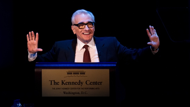 Animated as ever when it comes to the topic of film, director Martin Scorsese delivers the 2013 Jefferson Lecture in the Humanities at the Kennedy Center on April 1. (AFP/Getty Images)