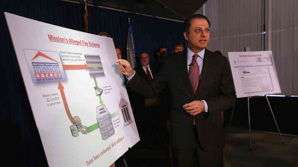 U.S. Attorney for the Southern District of New York Preet Bharara addresses the media on Tuesday during a news co