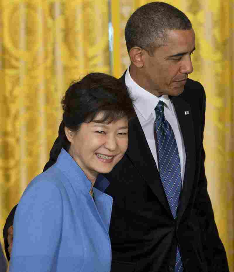 President Obama and South Korean President Park Geun-hye after a news conference at the White House on Tuesday.