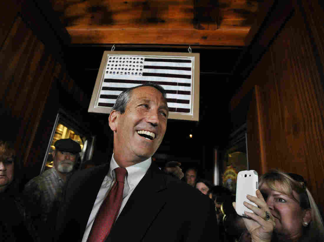 Former South Carolina Gov. Mark Sanford arrives to give his victory speech Tuesday in Mount Pleasant, S.C. Sanford won back his old congressional seat in the state's 1st District in a special election.