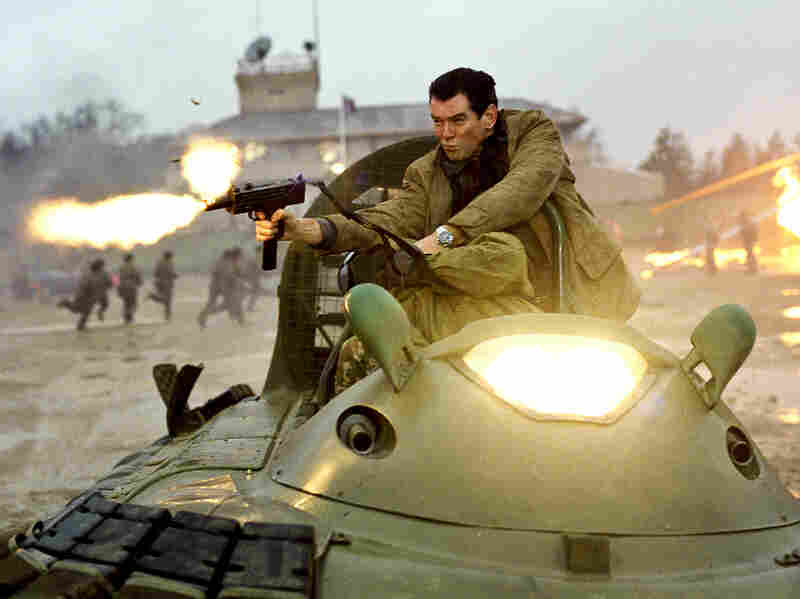 Brosnan's James Bond negotiates a high-speed hovercraft chase in Die Another Day, one of the three 007 films under the actor's belt.