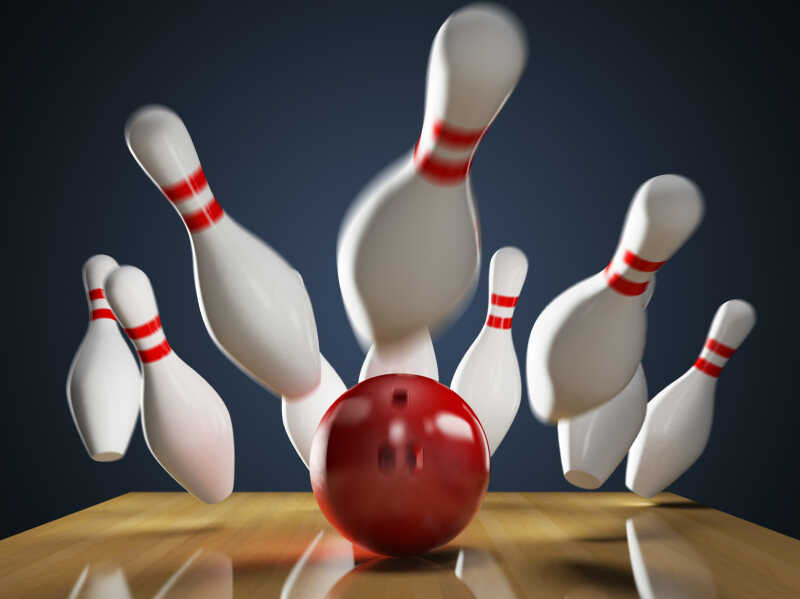 A bowling ball gets a strike.