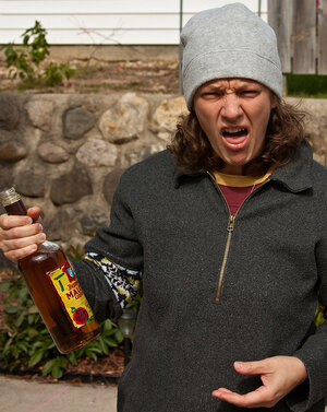 A photo from the Flickr group Malort Face, memorializing the facial expressions of people who try malort.