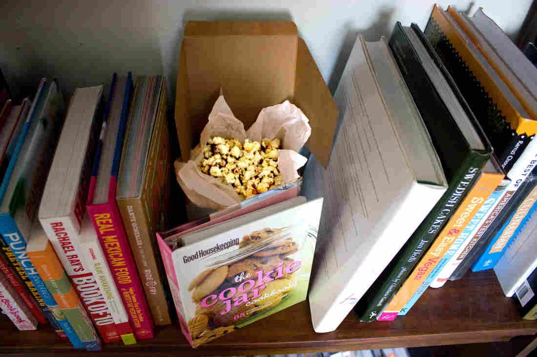 Mom's Posh Porcini Popcorn stashed behind the cookbooks ...