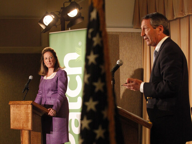 Democrat Elizabeth Colbert Busch and her Republican opponent, former South Carolina Gov. Mark Sanford, debate in Charleston, S.C., on April 29.