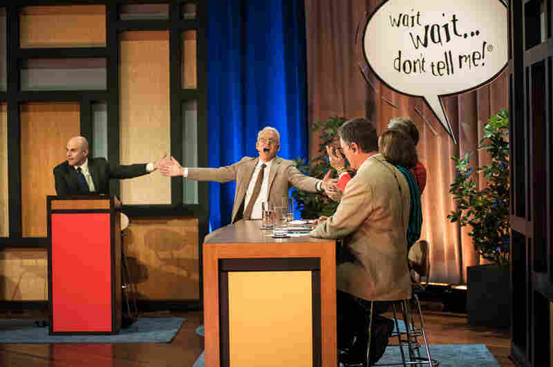 Last Thursday, May 2, Wait Wait... Don't Tell Me! made its big-screen debut in a national cinecast. Here is a bit of the action and fun of the evening, as (l-to-r) NPR Host Peter Sagal guides special guest Steve Martin and the show's panelists through a comic review of the week's news.