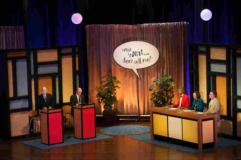 The wait wait is over; let the games begin at Wait Wait... Don't Tell Me! with (l-to-r) NPR's Carl Kasell, Peter Sagal and panelists Mo Rocca, Paula Poundstone and Tom Bodett.