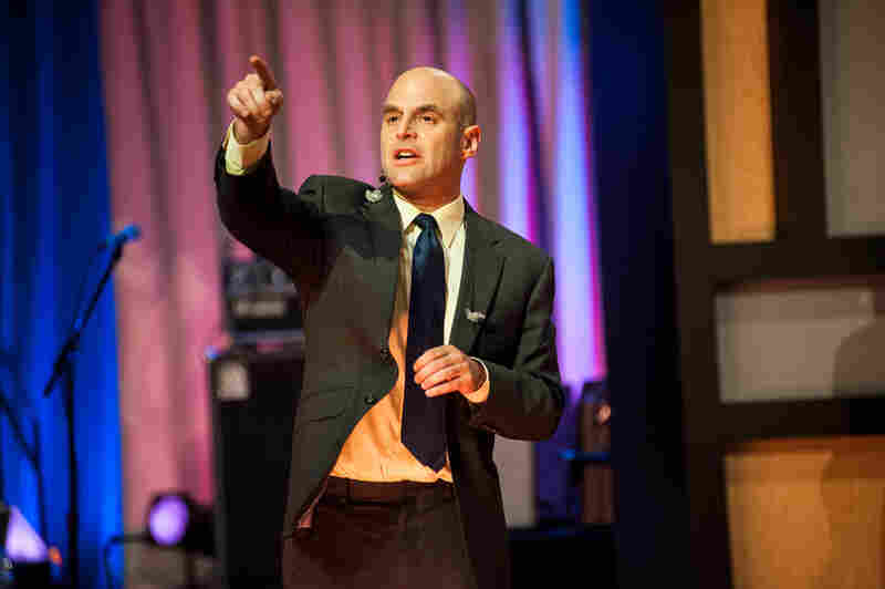 Wait Wait... Don't Tell Me! Host Peter Sagal warms up the crowd at New York University's The Skirball Theater.