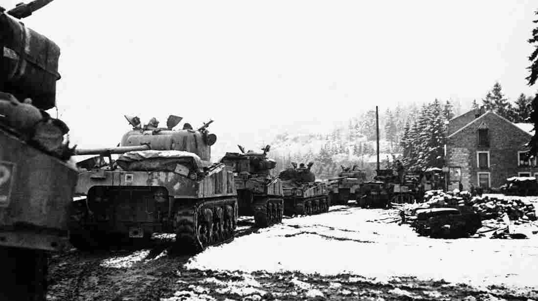 British tanks move to support their infantry during the Battle of the Bulge.