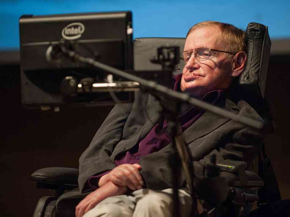 British cosmologist Stephen Hawking gives a talk to workers at Cedars-Sinai Medica