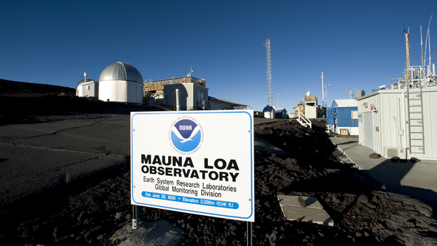 """Carbon dioxide readings at the Mauna Loa Observatory in Hawaii have reached what atmospheric scientist Ralph Keeling calls a """"psychological threshold"""" of 400 parts per million. The amount of carbon dioxide in the atmosphere has been steadily increasing since near-constant measurements began at the observatory in 1958. (National Geographic/Getty Images)"""
