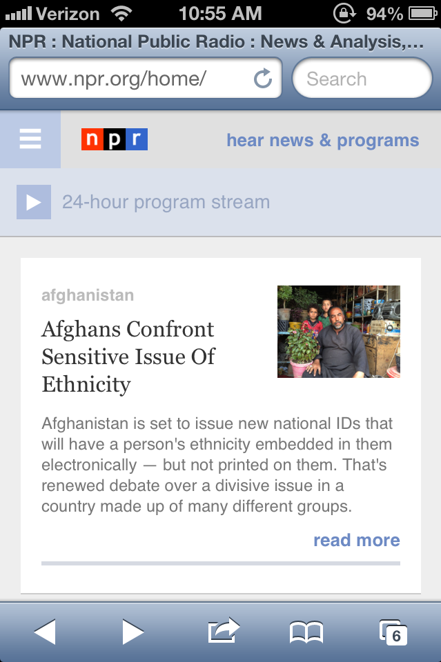 New NPR mobile homepage.