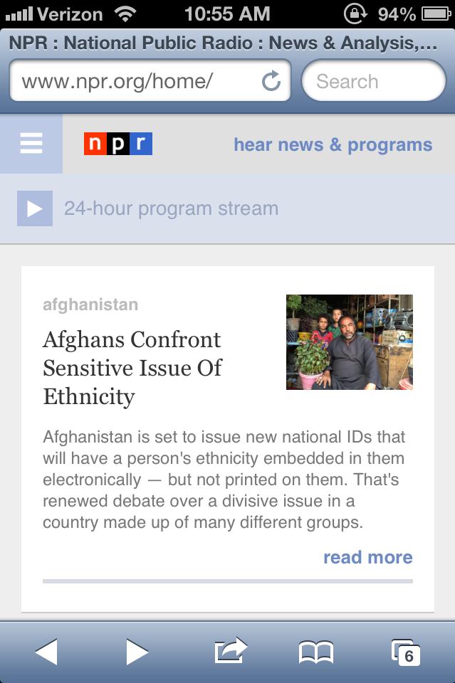 New NPR mobile homepage.