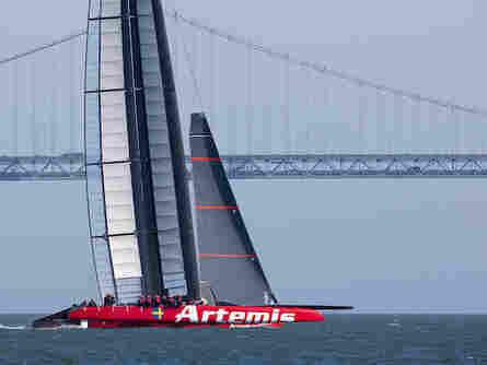 Artemis Racing's AC72 catamaran pictured last month near San Francisco's Golden Gate Bridge.