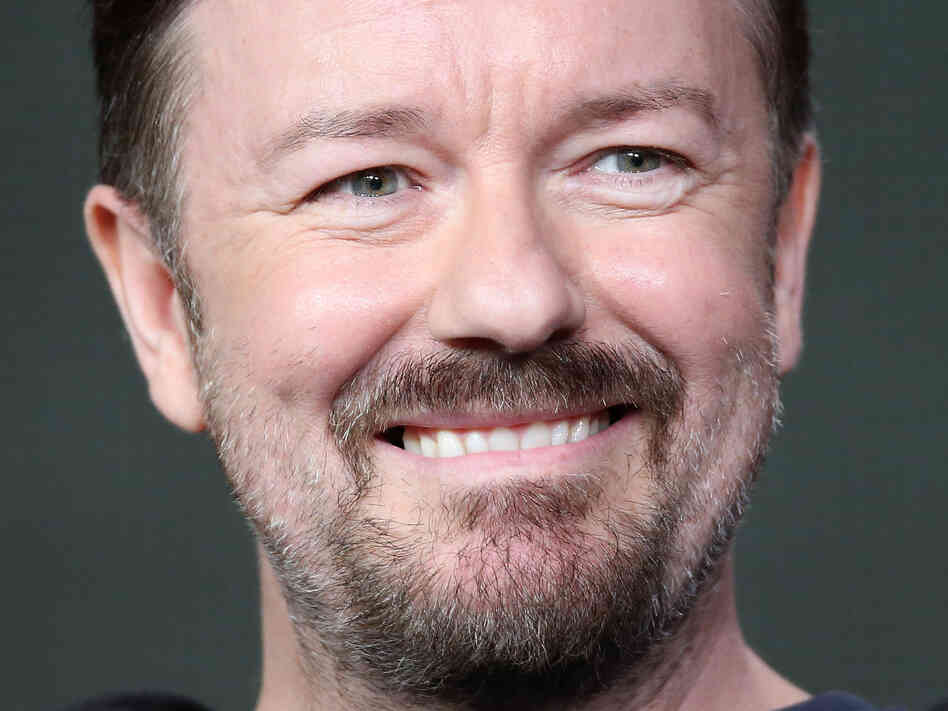 Ricky Gervais, co-creator and star of the BBC series The Office, speaks during the 2013 Winter Television Critics Association Press Tour in January 2013.