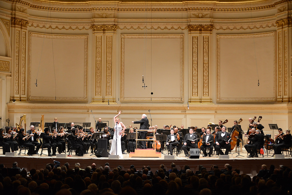 The second half of the Spring for Music concert was dominated by Kurt Weill's Seven Deadly Sins, originally conceived as a kind of sung ballet, with words by Bertold Brecht. The Portland-based rock and Pink Martini singer Storm Large took the stage to sing the role of Anna.