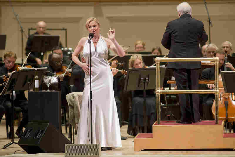 "After her performance, Storm Large said she felt like she just did a sporting event. Asked about her diverse repertoire, she said, ""I just do stuff that makes me feel good. Whether I'm smashing glasses [in a rock band] or I'm in a gown singing the lovely music of Kurt Weill."""