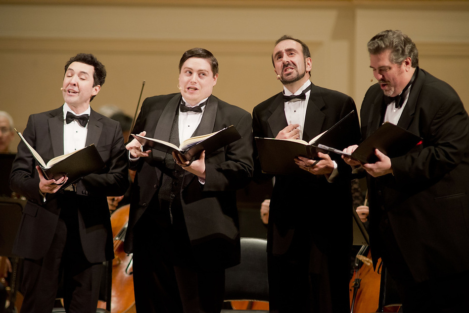 A barbershop-style quartet of singers — from left tenors Jorge Garza and Carl Moe, with baritones Anton Belov and Richard Zeller — played the collective role of Anna's family in Kurt Weill's Seven Deadly Sins. (for NPR)