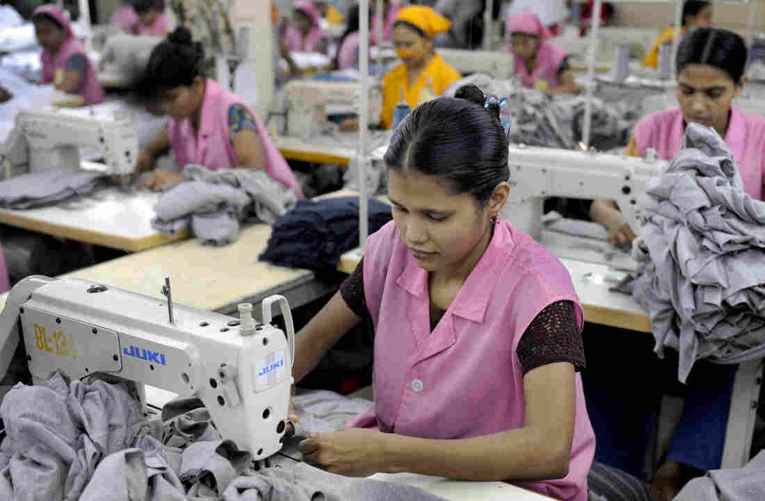 Garment workers sew T-shirts at a factory in Dhaka, Bangladesh, in 2009. Bangladesh, the world's second-largest clothing exporter, has lured clothing makers through a combination of low wages and light regulation.