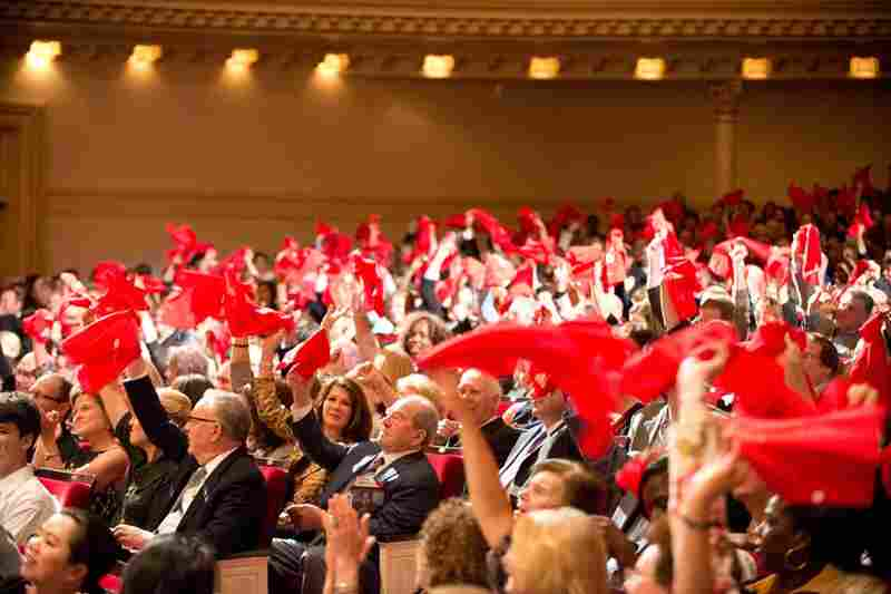Orchestras from around the country, chosen for their creative programming, show up for the Spring for Music festival. And fans from their hometowns show up as well, each with their own color-coded bandanas. Detroit waves red!