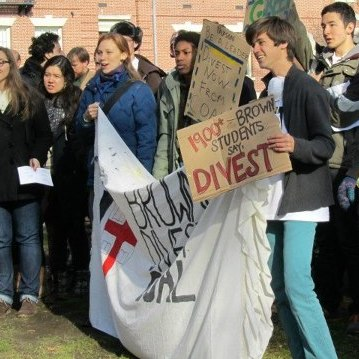 Students with the group Brown Divest Coal protest on the Brown University campus earlier this year. The group is lobbying the university to drop investments from fossil fuel companies.