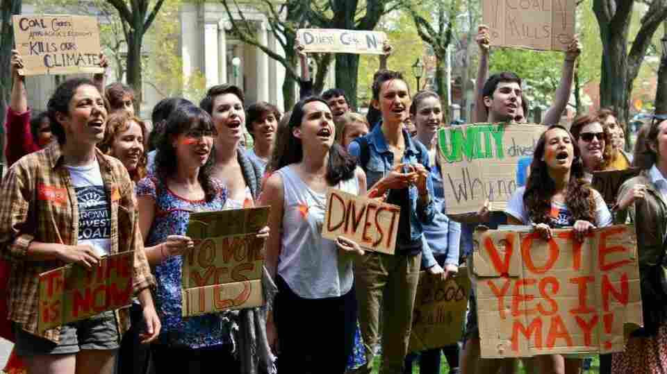 Students associated with the group Brown Divest Coal protested in front of the Brown University president's office during a rally May 3. The group is demanding that the university stop investing in certain oil and coal companies.