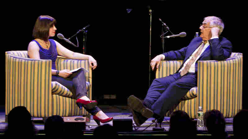 Former Congressman Barney Frank chats with host Ophira Eisenberg at the Wilbur Theatre in Boston, Mass.