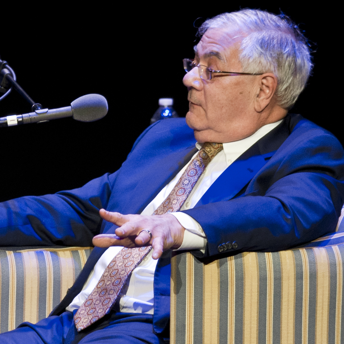 Barney Frank (right), speaking in front of a crowd at the Wilbur Theatre in Boston, told Ask Me Another host Ophira Eisenberg that he's proud of his advocacy work for the gay rights movement.