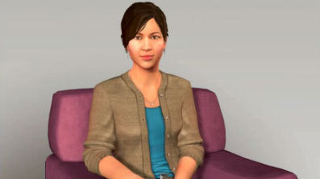 Ellie is a computer simulation designed to engage real people in meaningful conversation and take their measure. The computer system looks for subtle patterns in body language and vocal inflections that might be clues to underlying depression or other emotional distress. (YouTube)