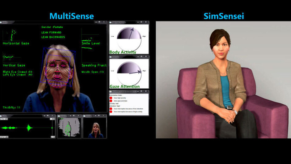 Ellie (right) is a computer simulation designed to engage real people, like the woman on the left, in meaningful conversation and take their measure. The computer system looks for subtle patterns in body language and vocal inflections that might be clues to underlying depression or other emotional distress. (YouTube)