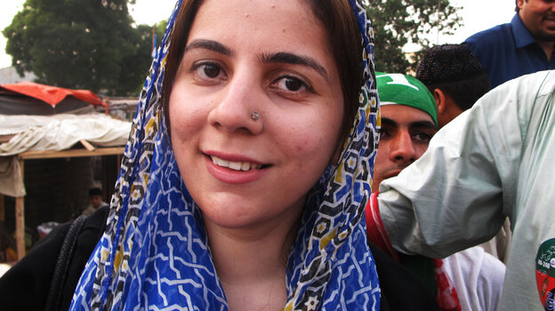 One of the few women competing in Pakistan's parliamentary election on Saturday is Naz Baloch, 33, a first-time candidate. She's the daughter of a politician, but is running for a different party th