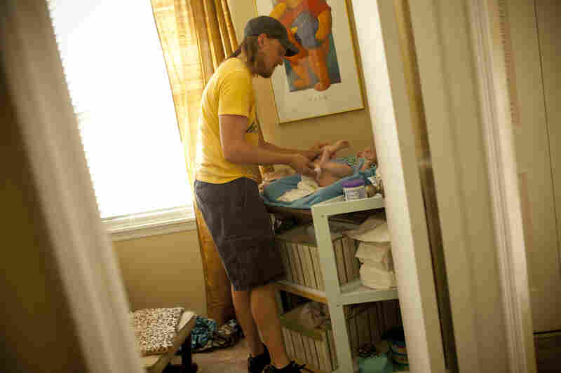 Initially Jonathan stayed at home with their eldest son Egan, now 5, to save money on child care. To the couple's surprise, their household became a calmer, happier place, and they decided to extend the arrangement.