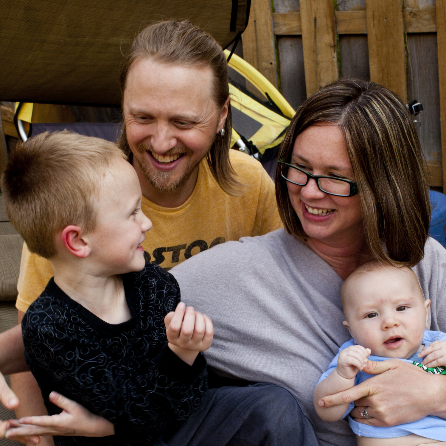 Jonathan and Dawn Heisey-Grove with their two sons Egan, 5, and Zane, 4 months, at their home in Alexandria, Va.