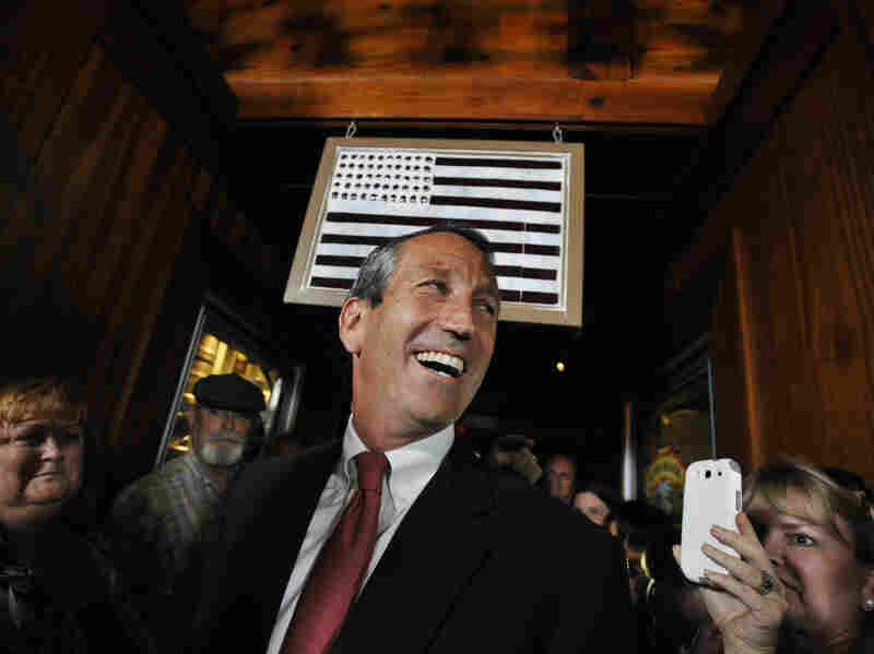 Former South Carolina Gov. Mark Sanford arrives to give his victory speech on May 7. Sanford won back his old congressional seat in the state's 1st District in a special election.