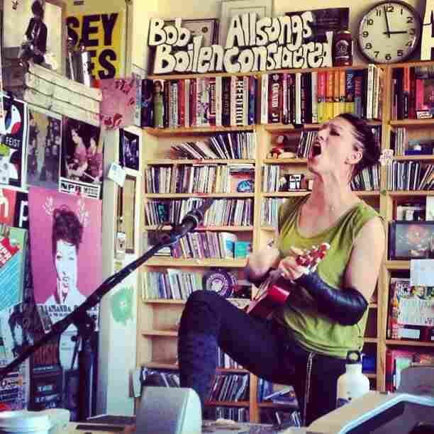 Musician Amanda Palmer performs at an NPR Music Tiny Desk Concert.