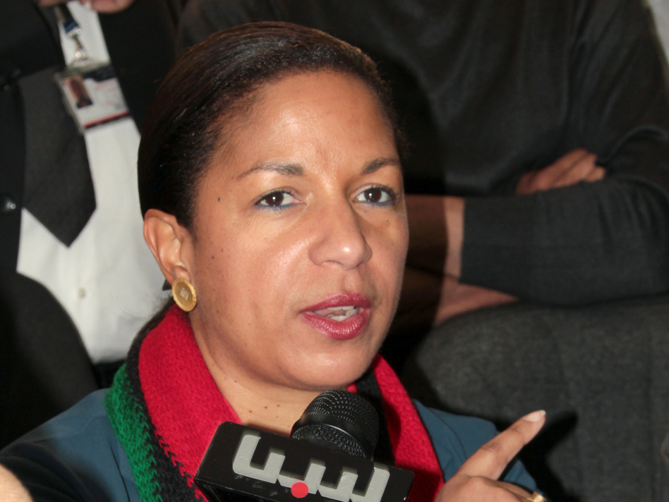 U.S. Ambassador to the United Nations Susan Rice speaks to the media during a visit to Benghazi in 2011.