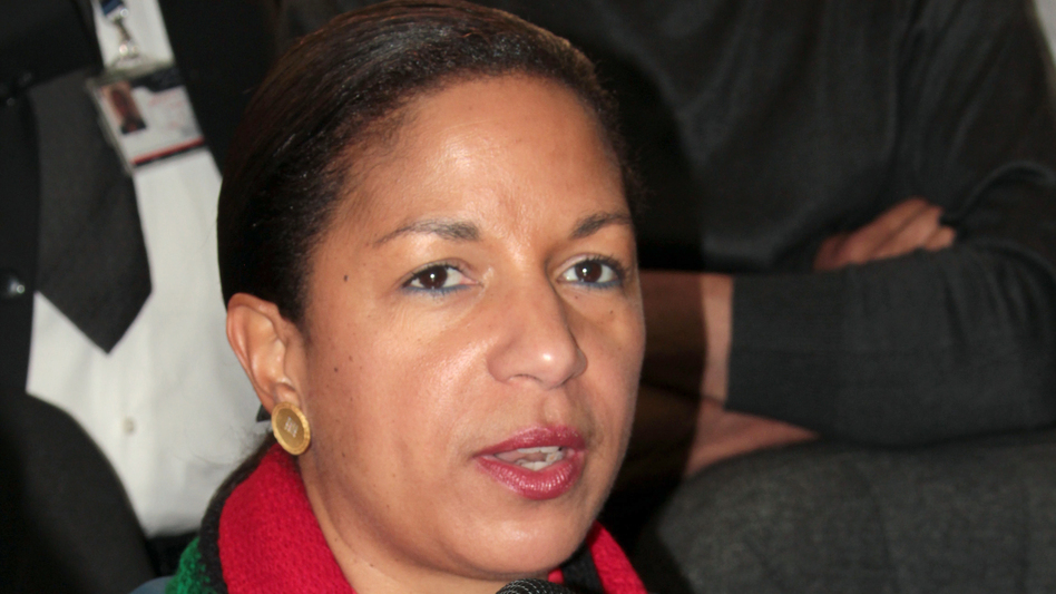 U.S. Ambassador to the United Nations Susan Rice speaks to the media during a visit to Benghazi in 2011. (AFP/Getty Images)