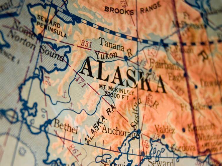 A map of Alaska.