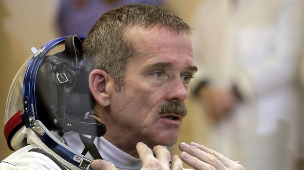 Commander Chris Hadfield discovered the leaking ammonia on Thursday. (Associated Press)