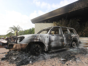 A burned vehicle outside the U.S. Consulate in Benghazi, Libya, after the Sept. 11, 2012, attack.
