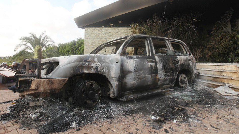A burned vehicle outside the U.S. Consulate in Benghazi, Libya, after the Sept. 11, 2012, attack. (Reuters/Landov)