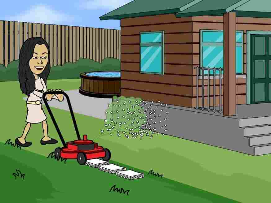 (User) found a way to take care of her chores and her homework at the same time!