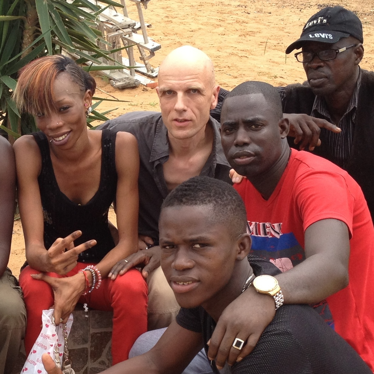 Mbalax band Jeri-Jeri -- led by Bakane Seck (he's wearing the white shirt and gold necklace) -- with German producer Mark Ernestus.
